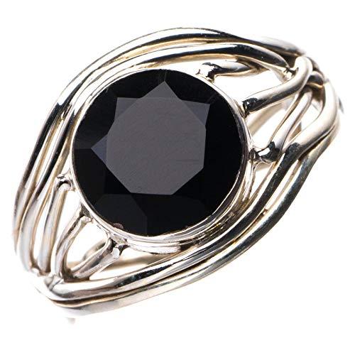 StarGems Natural Ónix negro Anillo de plata de ley 925 único hecho a mano 10 1/4 E2292