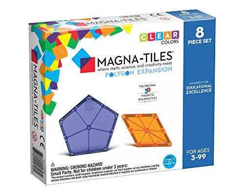 Magna-Tiles Polygons Expansion Set, The Original Magnetic Building Tiles for Creative Open-Ended Play, Educational Toys for Children Ages 3 Years + (8 Pieces)