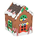 4E's Novelty Foam 3D Gingerbread House Christmas Craft Kit for Kids - Pack of 1, Xmas Arts and Crafts Project Activity, Small Size 4