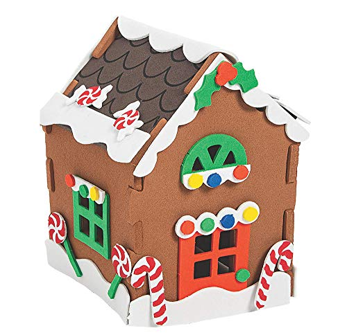 4E's Novelty Foam 3D Gingerbread House Christmas Craft Kit for Kids - Pack of 1, Xmas Arts and Crafts Project Activity, Small Size 4' x 5' - Decorate and Display for Christmas Decorations