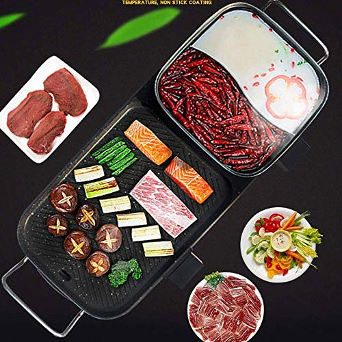 51xFUaMiiyL - Lamyanran Fondue-Fritteusen BBQ Grill & Hot Pot, Non-Stick Elektrobackblech, Multi-Funktions-Elektro-Grill-Ofen und Hot Pot mit 5 Einstellbare Electric Power