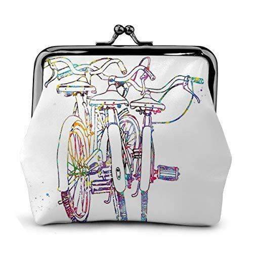 Tre biciclette portamonete in pelle borsa cambio bacio chiusura chiusura mini cosmetici borse trucco per donne e ragazze