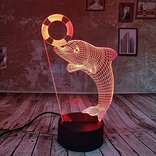 BFMBCHDJ Delphin 3D kleine Tischlampe kreative Karikatur Nachttischlampe Illusion weiches Licht Geburtstagsgeschenk LED Baby Fütterung Nachtlicht