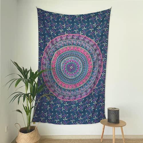 MOMOMUS Tapiz Mandala Indio - 100% Algodón, Grande, Multiuso - Tapices de Pared Decorativos Ideales para la Decoración del Hogar, Habitación o Salón - Lila A, 135x210 cm