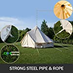 BuoQua Bell Tent Canvas Tent with Stove Hole Cotton Canvas Tents Yurt Tent for Camping 4-Season Waterproof Bell Tent for Family Camping Outdoor Hunting 4