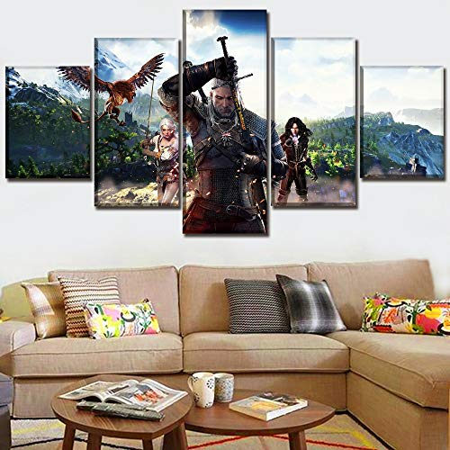 JSBVM Modern Kunst Malerei 5 Panels Spiel The Witcher 3 Wild Hunt Bild Leinwanddruck Poster Wand dekorativ Schlafzimmer Kunstwerk,A,30×50×2+30×70×2+30×80×1