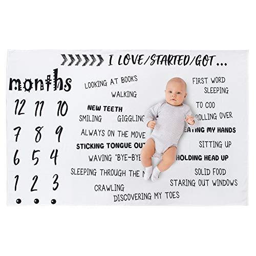 Beinou monatliche Baby Meilenstein Decke Neugeborenen Foto Decke Fotografie Hintergrund Prop Meilenstein Matten Wachstum Decke Baby Alter Decken Mädchen Jungen Swaddling Decke (145x100cm)