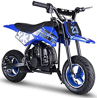 Superrio Gas Powered 50cc Kids Dirt Bike, Mini Kids Motorcycle, Kids Pit Bike, Kids Pocket Bike (Blue)