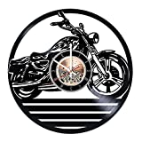 choma Motorbike Vinyl Record Wall Clock - Living Room or Home Room Wall Decor - Gift Ideas for Friends, Boys and Girls – Garage Unique Art Design