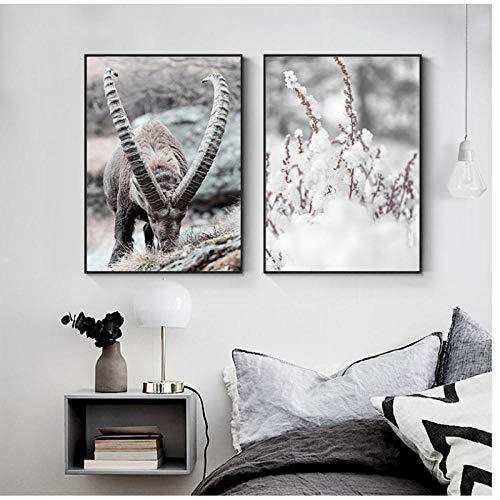 Zhaoyangeng Poster en Print Winter Natuur Landschap Canvas Schilderij Bier Herten Dierlijke Muur Beeld Nordic Stijl Home Decor- 50X70Cmx2 Geen Frame