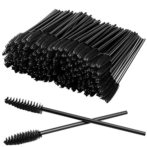 100 Pcs Disposable Eyelash Mascara Brushes for Eye Lashes Extension Eyebrow and Makeup (Black)