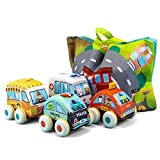 UNIH Pull-Back Vehicle Soft Baby Toys Toddlers Plush Car Toy Set 4 Cars with Play Mat (Storage Bag),...
