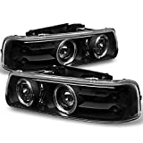 For 99 00 01 02 Chevy Silverado Suburban Tahoe Black Halo Ring Projector LED Headlights Pair Left+Right Replacement