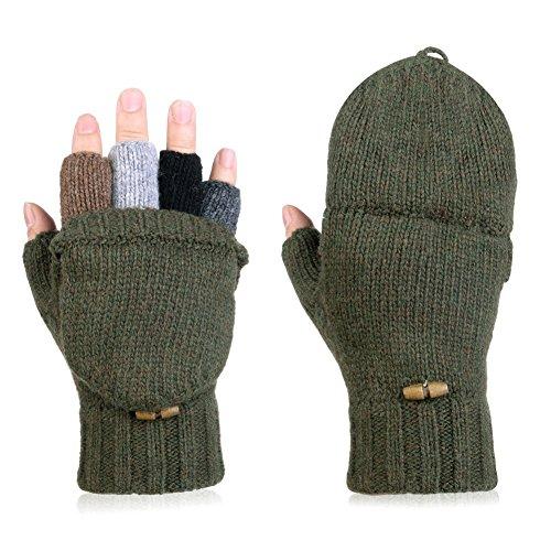 Vbiger Winter Handschuhe Fingerlose Fäustlinge Damen Fingerhandschuhe Fingerlos Halb Handschuhe Strick Handschuhe mit Flip Top, Armeegrün, Einheitsgröße
