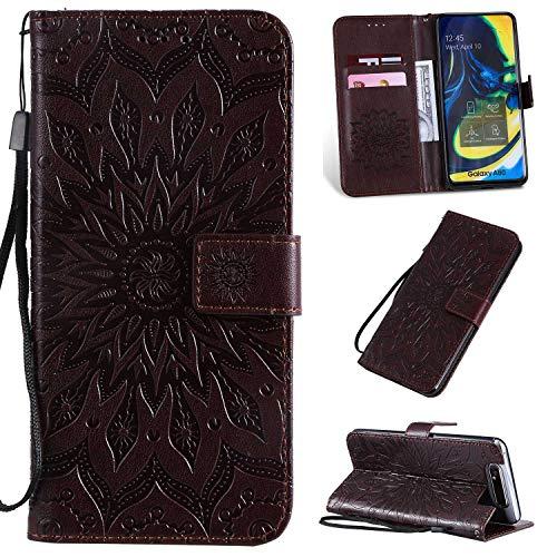 KKEIKO Hülle für Galaxy A80, PU Leder Brieftasche Schutzhülle Klapphülle, Sun Blumen Design Stoßfest HandyHülle für Samsung Galaxy A80 - Braun