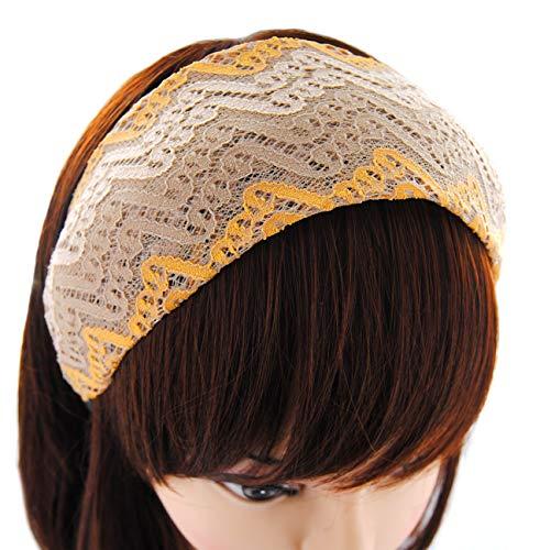 axy Breiter Haarreif 8cm Breit Haarband Hairband Stirnband Lady Look HRST3 (Gelb/Beige)
