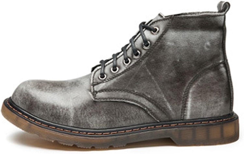 Shengjuanfeng Herrenschuhe Klassische Leder Schnürschuhe Oxfords High Top Ankle Stiefel (Farbe   Grau, Gre   46 EU)