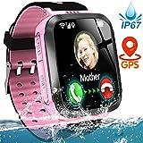 Kids Smart Phone Watch IP67 Waterproof GPS Tracker Watch for 3-12 Year Girls Boys Two-Way Call SOS...