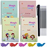 4 Pack Magic Writing Practice Copybook, Gift Set with Books Alphabet, Math, Drawing, Number, Magic Pen, Pencil Grips, Student Workbook Calligraphy Handwriting Tool