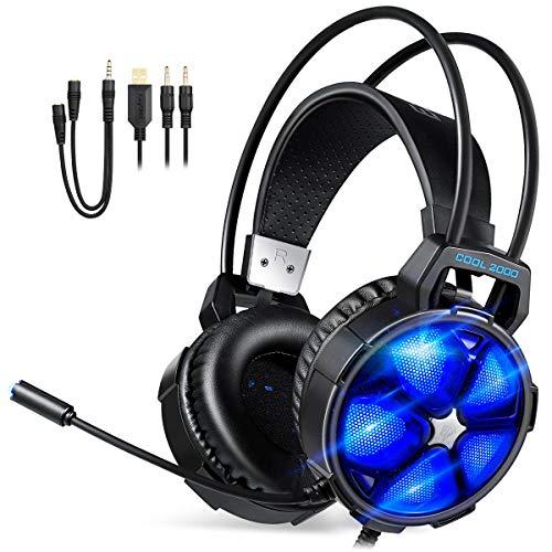 REDSTORM Cascos Gaming, Premium Stereo con Microfono para PS4 PC Xbox One, Cascos Gaming con Bass Surround Cancelacion Ruido, Diadema Acolchada y Ajustable, Microfono Unidireccional-Azul