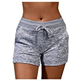 Short Sport Femme avec Poche Cordon Decontracte Pantalon Court Grande Taille Legging Court Ete de Yoga Jogging Fitness Danse Casual Pyjama Loungewear Knickers Fille Hot Pants Trousers Boxeur Unicolore