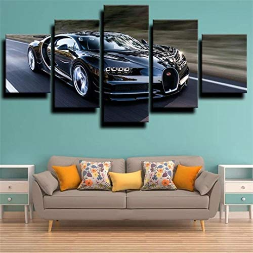 45Tdfc 5 Panel Pared Arte Pintura Coche Deportivo Black Buga Veyron Fotos Prints en Lienzo la Imagen Decor Aceite para decoración de hogar Moderno