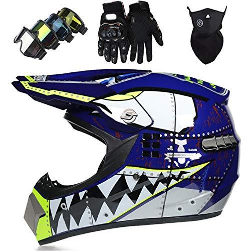 OTBKNB Offroad Casco Motocross Infantil, Set Cascos Integrales Moto Adulto, Aprobado por Dot Casco Cross Moto para Hombres Mujeres, Casco Dirt Bike con Guantes Gafas Máscara, Azul