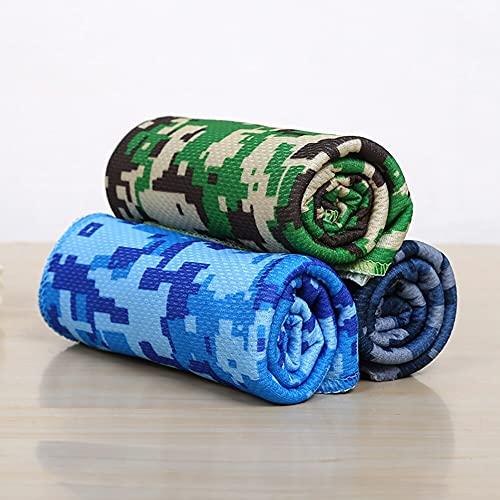 Onwaymall Toallas de refrigeración para cuello y cara, 3 toallas de camuflaje para yoga, golf, gimnasio, camping, correr, entrenamiento y más actividades (3 piezas)