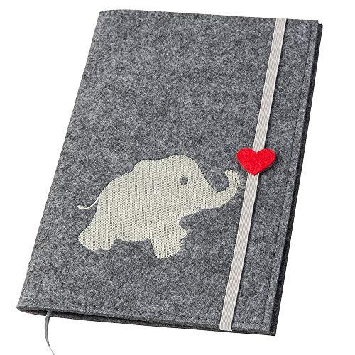 Uheft Hülle 'Elefant mit Herz' aus Filz, grau/hellgrau (Farbe wählbar)   2in1: U-Heft Hülle und Impfpass Hülle
