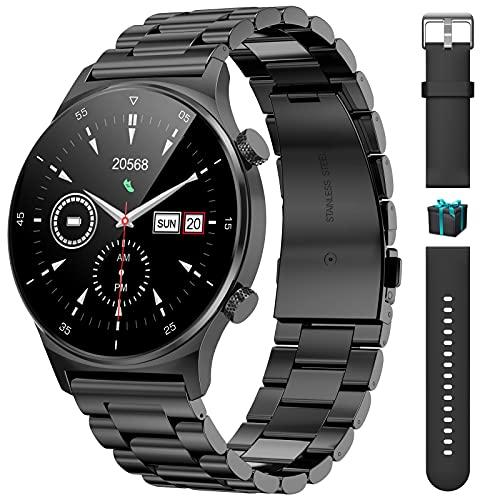 LIGE Smartwatch,1,32 Zoll HD Farbdisplay Fitnessuhr für Android iOS mit Pulsuhr-Schlaf-Gesundheitsmonitor, IP67 wasserdichte Edelstahl Sport Armbanduhr Schrittzähler Stoppuhr Gifted Strap