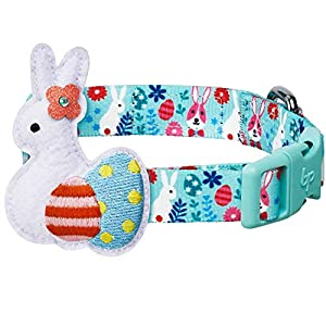 Blueberry Pet 2021 New Easter Bunny and Egg Adjustable Dog Collar with Detachable Décor, Minty Green, Large, Neck 18″-26″