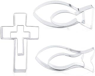 O-Kinee Emporte-pièce en forme de poisson - En acier inoxydable - Pour communion, confirmation, baptême, décoration