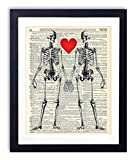Skeleton Love Upcycled Vintage Dictionary Art Print Bedroom Decor Wall Art 8x10