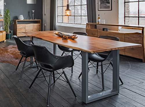 KAWOLA Essgruppe 5-Teilig mit Esstisch Baumkante nussbaumfarben Fuß Silber 140x85cm und 4X Stuhl ZAJA Kunstleder schwarz