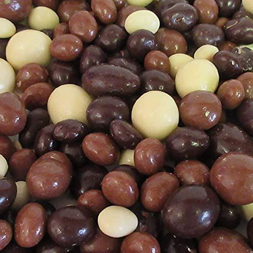 Gourmet Chocolate Covered Espresso Beans Medley by Its Delish – 10 LBS Bulk Bag – Premium Kosher Dairy Mix of Dark, Milk & White Chocolate Covered Coffee Beans