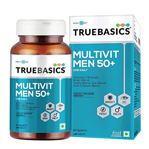 TrueBasics Multivit Men 50+ One Daily, Multivitamin for Men, Multiminerals, Anti-oxidants with Brain, Eye & Energy Blend, Nutrition Supplements for Senior adults , 90 Veg Tablets ( Multivitamins for Men 50+,30 Tablets)