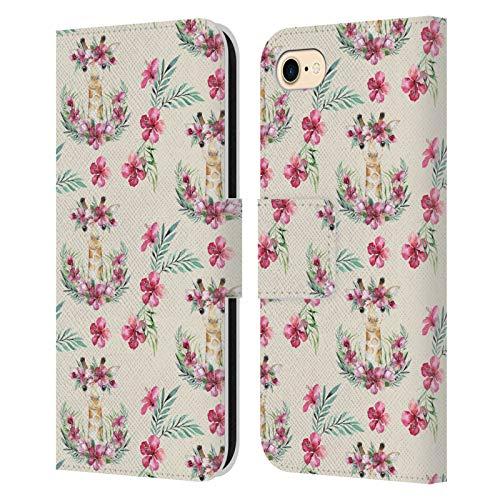 Head Case Designs Officially Licensed Kristina Kvilis Patrón Jirafa Animales Lindos Carcasa de Cuero Tipo Libro Compatible con Apple iPhone 7 / iPhone 8 / iPhone SE 2020