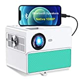 1920x1080P HD Projector Support 4K, TOWOND 2021 Home Movie Projector for Indoor Use, 7000LUX Portable Projector with Bluetooth Speakers and 300'' Display, Compatible with Phone/PC/TV Box/PS5-Blue