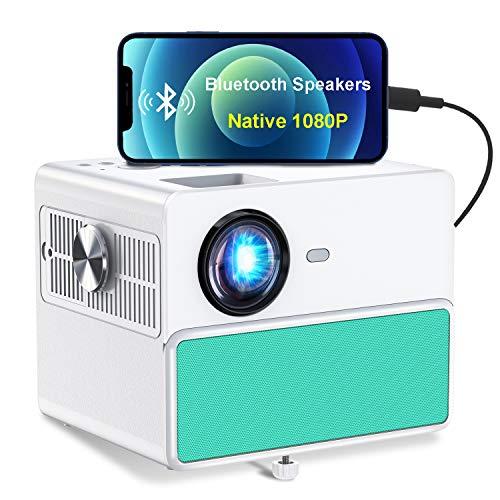 Proyector para Exteriores TOWOND, proyector de teléfono Inteligente Full HD de 1920*1080P, Soporta 4K y ± 15 ° Keystone & Zoom, Compatible con Stick, HDMI, USB, AV, Chromecast--Tiffany Blue