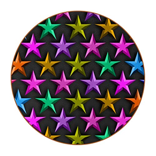 6pcs Drink Coasters Cup Pad Mat Round Microfiber Leather Mug Coaster Non Slip for Coffee Beer Mug Wine Glass Bottle Home and Bar Colorful 3D Stars Pattern with Black Background