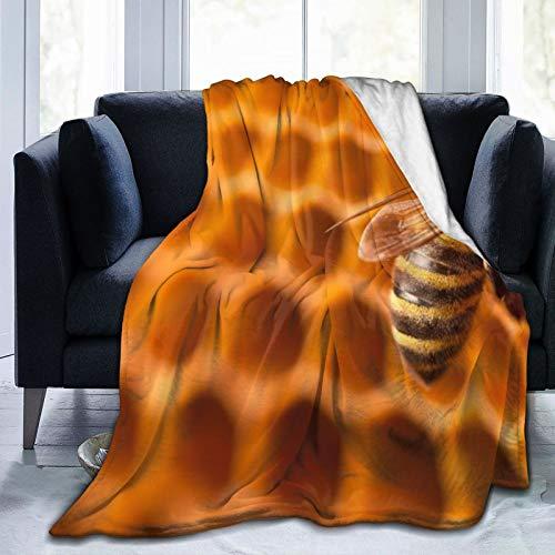 Manta de forro polar de 127 x 152 cm, diseño de abeja trabajando en un panal de abeja. Manta de franela suave y cálida para cama/sofá/oficina/camping