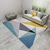 Geometría Triangular Multicolor Tendencia Pastel Diseño Geométrico Inspiración Multicolor, Fácil de Limpiar, Alfombra anticontaminación, 140X200cm (55X79inch)