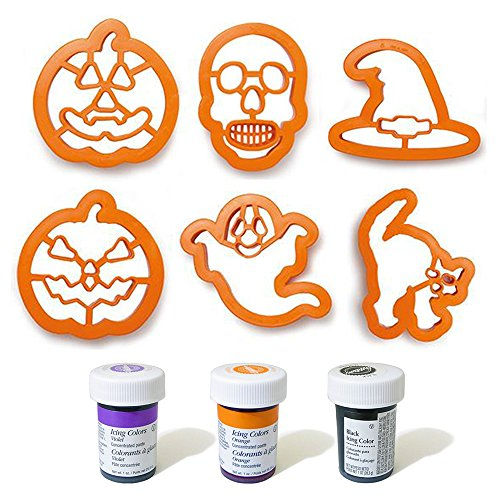 Zeus Party Kit Completo 6 stampini tagliapasta Halloween + 3 Coloranti Alimentari Nero, Viola e Arancione - Zucca Strega Fantasma Teschio Gatto per i Tuoi dolcetti di Halloween