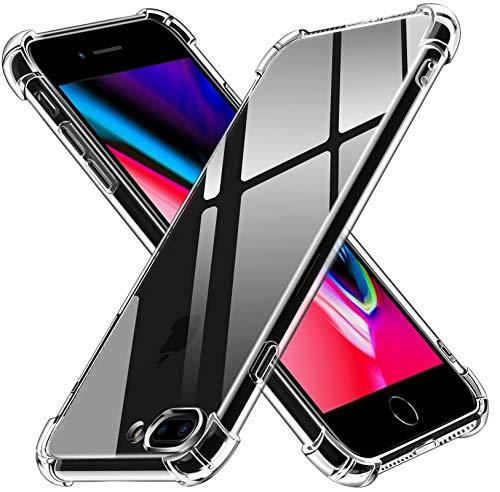 iVoler Cover Compatibile con iPhone 8 Plus e iPhone 7 Plus 5.5 Pollici, Custodia Trasparente per Assorbimento degli Urti con Paraurti in TPU Morbido, Sottile Morbida in Silicone TPU Protettiva Case
