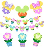 Happy Easter Banner Decoration,14pcs Mickey Mouse Easter Hanging Galand for Easter Decoration,Spring Theme Party Birthday Party Home Decor for Mantle Fireplace