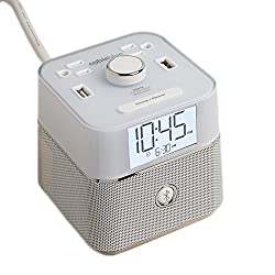 Brandstand | CubieBlue White | User Friendly & Convenient Alarm Clock Charger | 2 USB Ports | 2 Tamper Resistant Sockets | Brandstand Bluetooth Speaker