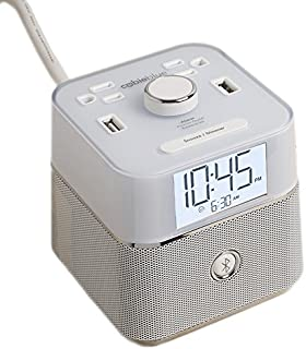 Brandstand | CubieBlue White | User Friendly & Convenient Alarm Clock Charger | 2 USB Ports | 2 Tamper Resistant Sockets | Brandstand Bluetooth Speaker