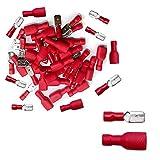 100 pcs Conector de Cables Eléctrico Terminales Rojo 50 Macho y 50 Hembra(Rojo)