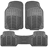 Seat Armour Steering Wheels - FH Group F11306GRAY Gray-Solid Trimmable Heavy Duty All Weather Floor Mats 3pc Full Set