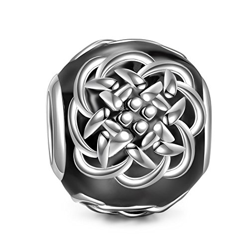NINAQUEEN Celtic Tattoos 925 Sterling Silver Black Bead Charms for Bracelet Necklace Jewelry For Women Birthday Valentine's Day Gifts For Her Teen Girls Wife Mom Daughter